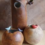 Vases boule et cylindre, grès émaillé et oxyde de fer