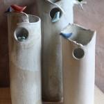 Vases boule et cylindre, grès émaillé